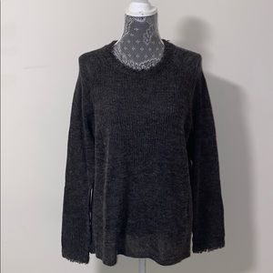 Lucky Brand Womens Frayed Pullover Sweater size L